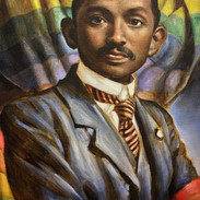 Young Gandhi with rainbow flag
