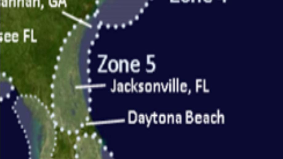 Zone 5 Georgia to Daytona Beach Florida
