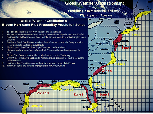 2020 Landfall Predictions - 13 Zones - about (40) Outlook and Tracking Webinars
