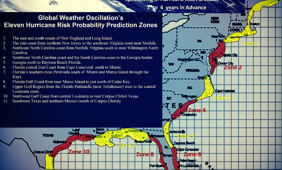 2021 Landfall Predictions - 13 Zones - about (40) Outlook and Tracking Webinars