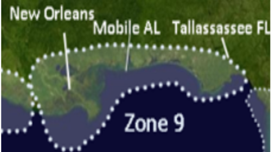 Zone 9 Upper Gulf from FL Panhandle to Central LA