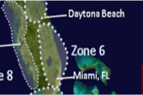 Zone 6 Cape Canaveral to Miami Florida