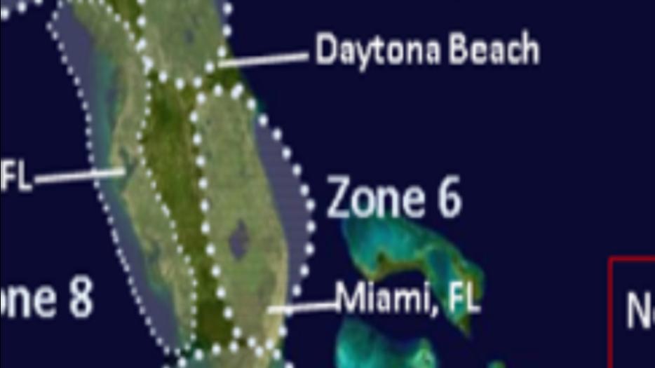 Zone 6 Cape Canaveral Forida to Miami Florida