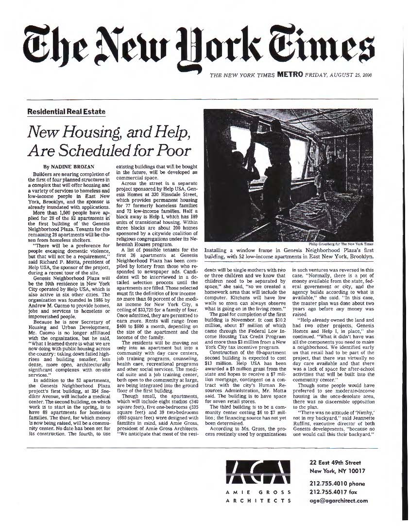 Genesis_NYT_New Housing, and Help, Are Scheduled for Poor