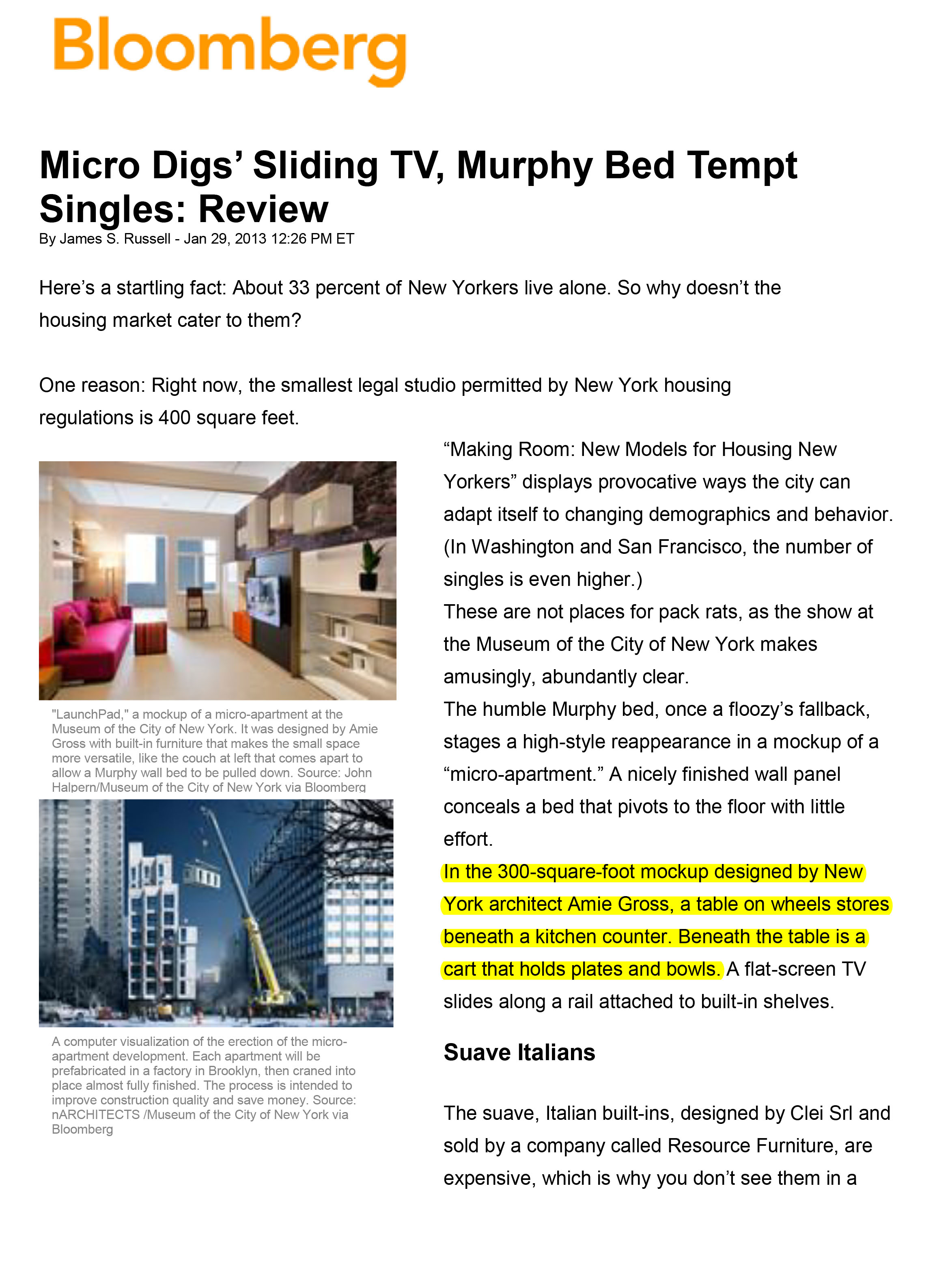 Making Room_Bloomberg_ Micros' Sliding TV, Murphy Bed Tempt Singles-1