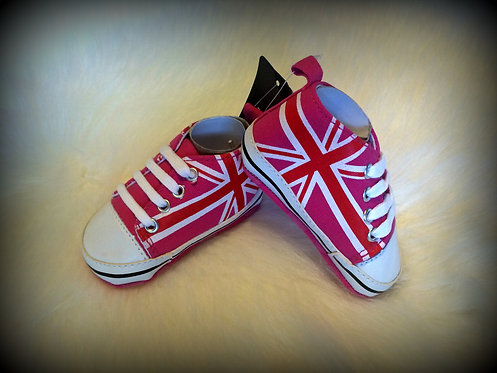 Union Jack Baby Shoes - Pink/Red