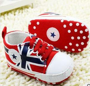 Union Jack Baby Shoes - Red
