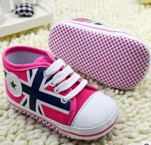 Union Jack Baby Shoes - Pink/Blue