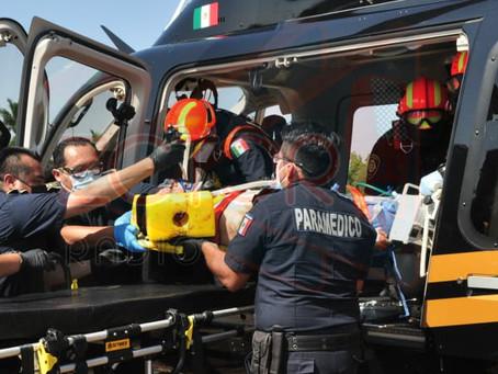 SSP traslada en helicóptero a lesionado de gravedad