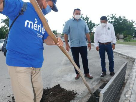El Concejal supervisa labores en el fraccionamiento Villa Jardín de Caucel