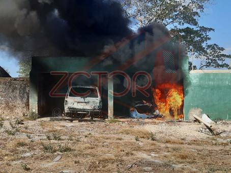 Incendio de autos en rancho
