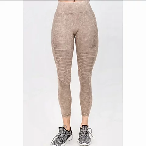 High Rise Vintage Wash Moto Detailed Leggings