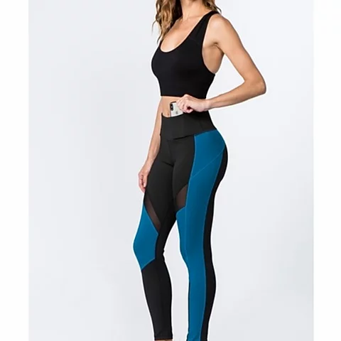 Active High Rise Colorblock Mesh Legging with Pockets