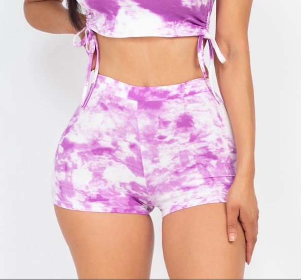 Tie Dye Ruched Shorts