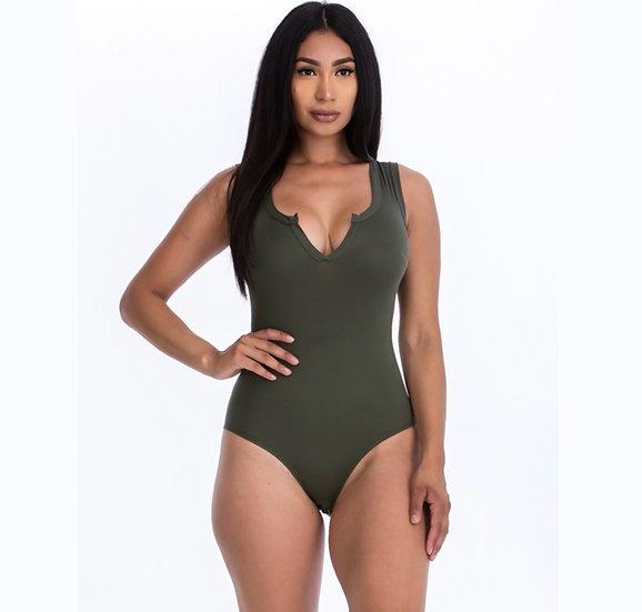 Split Neckline Solid Bodysuit