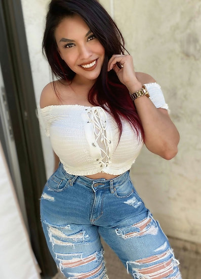 Short Sleeve Front Lace Crop Top