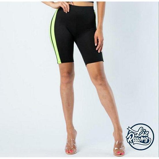 Black/Neon Green Biker Shorts