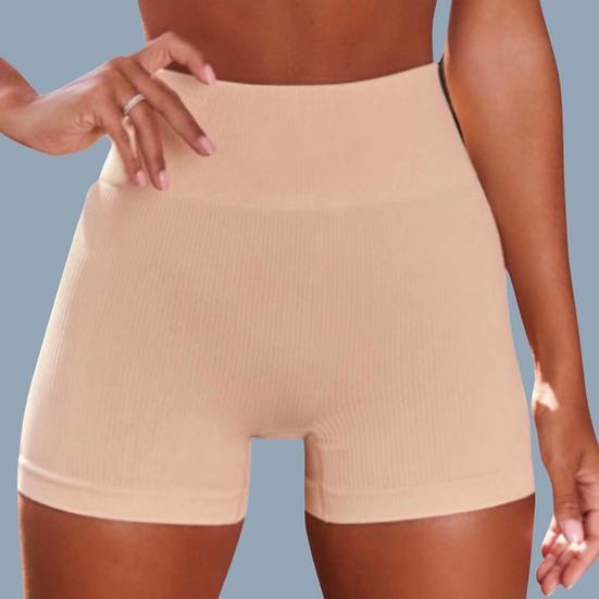 Chestnut Praline- Ribbed Active Shorts