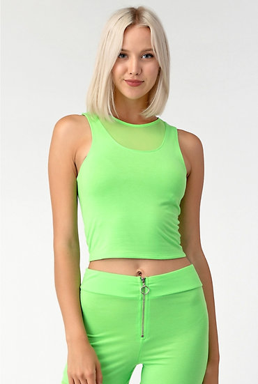 ACTIVE CROPPED TANK TOP WITH MESH INSERT