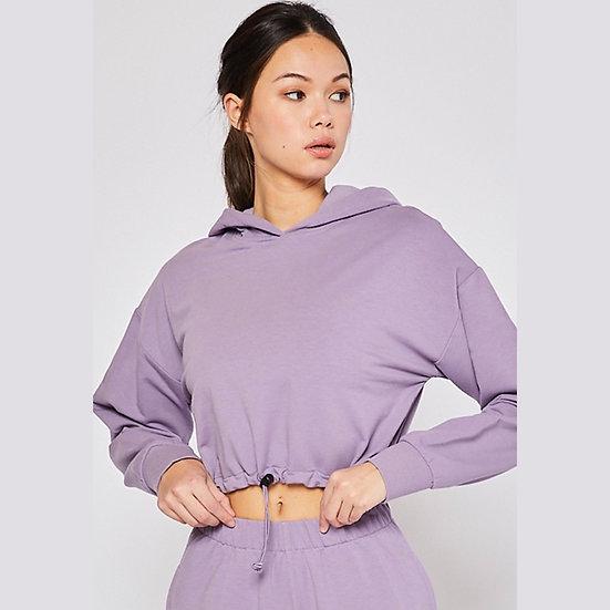 Terry Drawstring Cropped Hoodie Sweatshirt