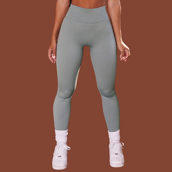 Blueberry Muffin- Ribbed Active Leggings