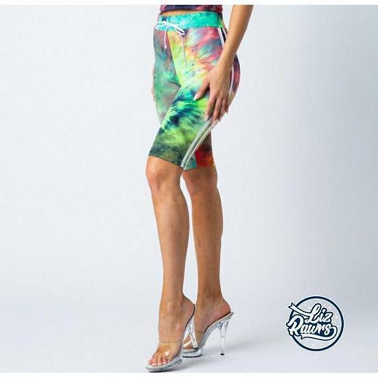 Green Tie dye Biker Shorts