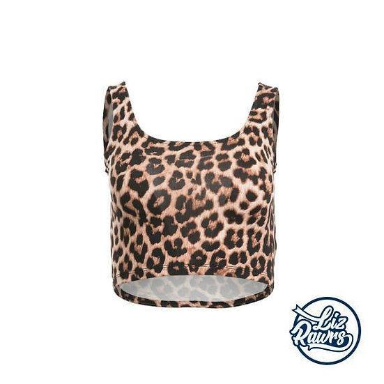 Leopard Print Sleeveless Crop Top