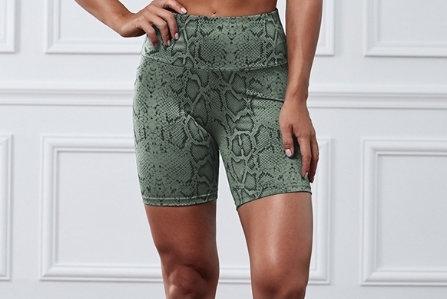 Premium Snake Print Active Shorts