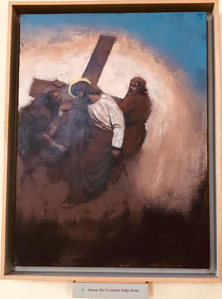 5th Station: Simon of Cyrene helps Jesus carry His cross.