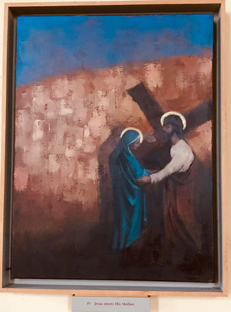4th Station: Jesus meets His mother.