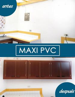 gabinete cocina pvc caoba