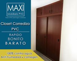 closet pvc corrediza caoba