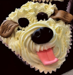 Doggie face panting cupcake