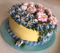Forget-Me-Not buttercream flower cake