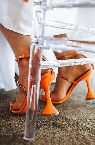 orange aesthetic bridal shower. shoes amina muaddi orange heels