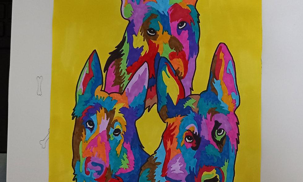2 dessin chien popart
