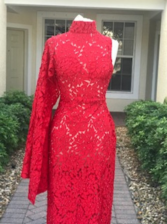 Aysemetrical Red Embroidered dress
