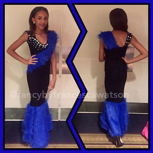 Blue Fur Pageant/Prom dress