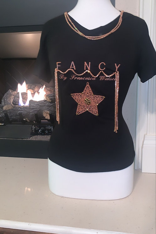 Fancy By Francesca Watson Rose Gold embroidered Tee
