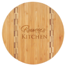 Round Bamboo Cutting Board with Butcher Block Inlay