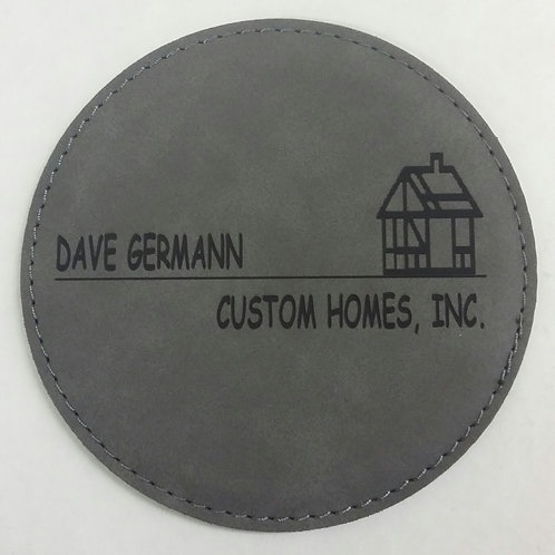 "4"" Round Coaster - Leatherette"