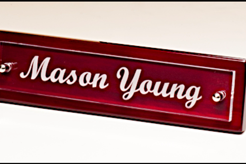 Piano finish with acrylic name plate
