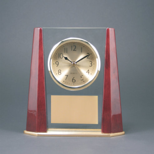 Glass Clock with Beveled Colum