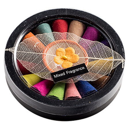 Mixed Fragrance Incense Cones with Holder Gift set
