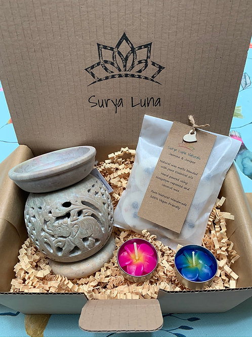 Soapstone Wax Burner and Melts Gift Set