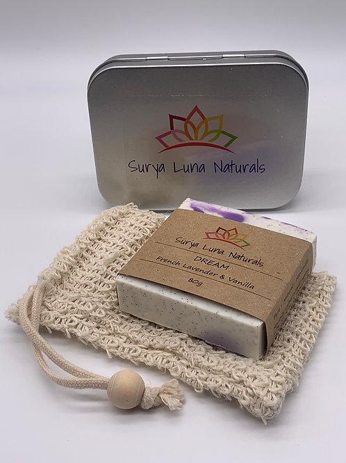 Gift Tin with Soap and Sisal Bag
