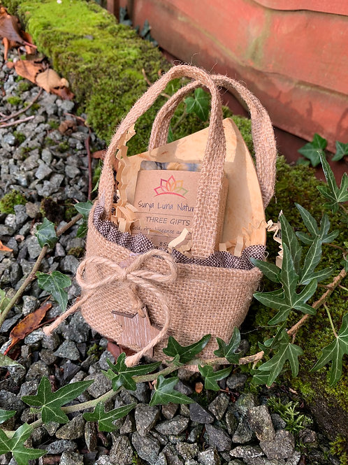 Jute Bag, Soap and Soap Dish Gift Set