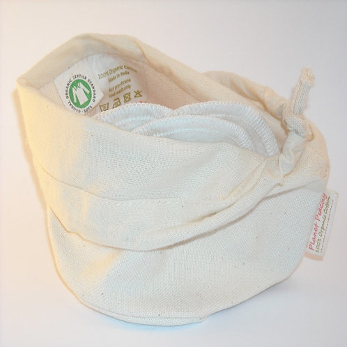 5 Organic Washable Cleansing Pads and Storage Pouch
