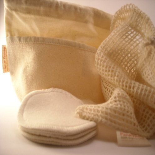 Organic Washable Cleansing Pads, Storage Pouch  and Washbag
