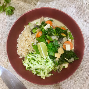 Tofu Thai Green Curry with Zucchini Rice